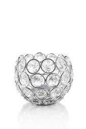 "Candle Holder – Round Beaded Real Crystal Votive – ""Prestige"" – 3″ Silver – BUY MORE, SAVE MORE"