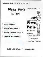 Pizza Patio Menu. Bird Rd Miami, Fl | Nostalgia | Pinterest | Miami, Patio  And Pizza