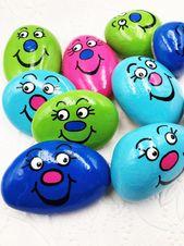 Sorgen Sie Steine für Kinder SET von 10, Pocket Felsen für Kinder, zurück zu Schule Komfort Steine, dumme Gesicht Tasche Felsen, Ostern Korb Geschenk