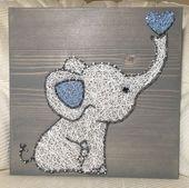 Benutzerdefinierte Baby Elefant String Art Zeichen, Kinderzimmer Dekor, Baby-Dusche-Geschenk, Dschungel Tiere, Baby-Mädchen, Baby Boy, Elefant Geschenk, Zwillinge vorhanden