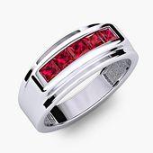 Modern Men Ruby Channel Set 14K Anillo de bodas de oro blanco para aniversario Banda R # 480-77   – Men's Rings/Bands
