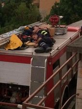 Firefighters Resting After 2 Days Of Constant Firefighting In Makarska Croatia Heroes