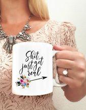 Shit Just Got Real | Just-Engaged Gift | Newly Engaged Mug | Future Mrs. Mug | Engagement Gifts | Engagement Mug | Mug for Bride-to-be – Engaged
