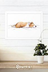 Corgi Sploot Art Print  – Corgi Cute Sploots