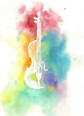 Aquarell Violine Silhouette-bunte Regenbogen Instrument Druck