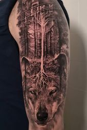 Realistische Wolf Tattoo von John Hudic in Mailand, Italien