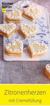 Corazones de limón con relleno de crema   – Weihnachtsbäckerei – Plätzchenrezepte & Co.
