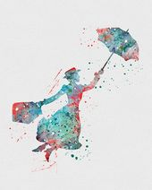 Mary Poppins 2 Watercolor Artwork Print