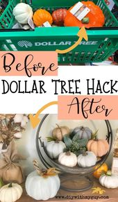 Cheap Fall Decor DIY Farmhouse Pumpkins- Dollar Tree Hack