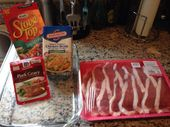 Easy pork roll ups  Thin sliced pork chop 1 box stuffing mix 3/4 cup chicken bro…