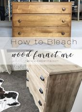 Simple, cost-effective makeover of the dresser! ~ How to bleach wooden furniture …