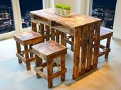 Dining tables – Pallets Seating – Pallets Table & footstool – a designer …