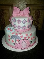 3 Tier Diaper Cake Pink Umbrellaphants Safari Elephants Baby Shower Centerpiece