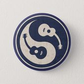Gitarre Yang-blau Pinback Button, Erwachsene Unisex, Größe: 2 ¼ Zoll, Lavendel / Antikweiß