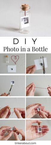 DIY kleines Foto / Mitteilung in einer Flasche als Jahrestags-Geschenk-Idee