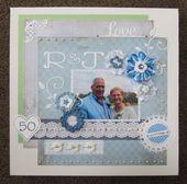 50 jaar getrouwd.. Gemaakt van scrapvellen/papier, gehaakte en met lint gemaakte…
