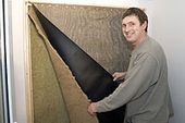 Building a DIY vocal booth. Once the Rockwool was in place, layers of carpet und…