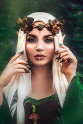 Donne lungo Costume Fata abito FORESTA Elfo Donna Abito Waldfee Fiaba Costume Elfo