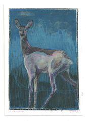 Reh, kleine Malerei auf Papier in Mischtechnik