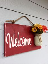 Country welcome sign farmhouse distressed, outdoor hanging sign red country rustic, rustic home decor spring decorations, front porch decor