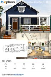 25 Best Tiny House Plansdream House Plan 497 23 This Project Presented An Opportunity To In 2020 Cottage Style House Plans Small House Design Cottage House Plans