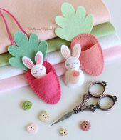 FELT BUNNY PDF Sample – Motif de Pâques 'Bitty Bunnies'; mini lapin à la carotte en feutre – Maquillage
