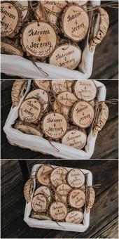Christmas wedding favors, holiday wedding favors, personalized wedding favors, Christmas ornament favors, rustic wedding favors