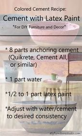 Recipe for Latex Paint-Tinted Cement Furniture and Decor. #diyfurniturebench