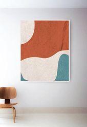 Abstrakte geometrische Wand Kunstdrucke. Mitte des Jahrhunderts Modern Print. Mitte des Jahrh…