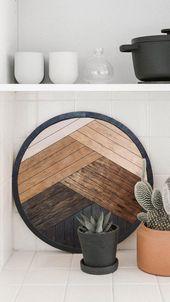 Round Wood Wall Hanging Geometric Wood Wall Art Geomteric | Etsy