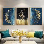 Golden Fish Butterfly Wall Artwork Summary Canvas Portray