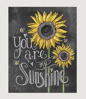 Geschenk für Mama – Geschenk für Tochter – Baby-Dusche – Kinderzimmer-Kunst – Wand Kunst You Are My Sunshine – Sonnenblume – Childs Room Decor – Kreidekunst