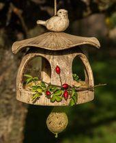 Naturaleza de cerámica Vogelhaus, casa de pájaros de cerámica para colgar, objeto de luz, natural de cerámica, casa de pájaros, por supuesto, casa de pájaros colgante   – Vogelhäuser