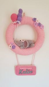 Personifizierte Babykinderzimmerdekoration. Einzigartige Baby Dekoration – Baby Mädchen Raumdekoration – Kinderzimmer Kranz Dekor – kostenlose P & P   – Stricken