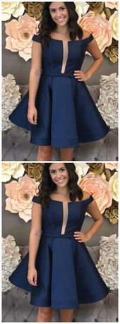 A Line Off The Shoulder Knee Length Navy Blue Homecoming Dress With Pleats
