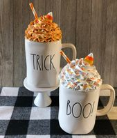 Candy corn faux Whipped Cream Mug Topper | Etsy
