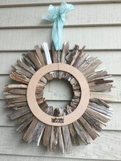 Driftwood Wreath 16″ with Sea Glass Handcrafted in Maine – Periwinkle, Sea Foam and Aqua Sea Glass Accents – Wall Decor – Wall Art   – Treibholz