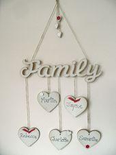 coeur en bois de style chic minable suspendus arbre généalogique photo plaque cadeau de fête des mères | eBay   – creations
