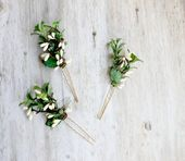 Greenery Hair Pins, Flower Hair Clip. Bridesmaids. Boxwood Flower clips, Spring Wedding, Bobby Pins for Braids, Greenery Bridal Hair Pins