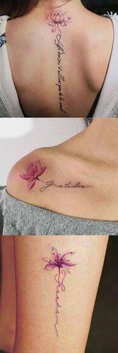 Lotus Flower Tattoo-Ideen bei MyBodiArt.com – Script Spine Tatt für Frauen – Floral Pink Ankle Shoulder Tat #tattoosforwomen