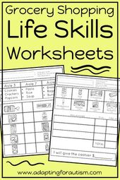 Life Abilities Worksheets for Particular Schooling and Autism (Grocery Retailer)
