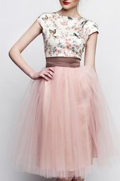 Registry office dress pink brown short with tulle skirt custom made