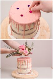 Bake your own cake: Naked Cake with eucalyptus and flowers   – Kuchen