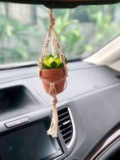 Mini Macrame Plant Hanger / Auto Rückspiegel Zubehör Sukkulenten hängen / …   – deko