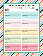 Free Printable Utility Provider Contact Sheet
