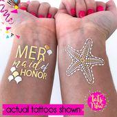 Mermaid bachelorette party tattoos / Mermaids are real / temporary tattoos / bachelorette party favo