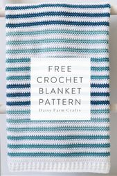 Baby Blanket Free Crochet Blanket Pattern - Teal Stripes Baby Blanket