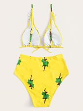 Ruffle Triangle Top With High Waist Bikini Set #Ad , #Affiliate, #Top#Triangle#R…