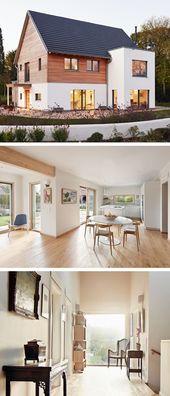 Modernes Design Haus mit Satteldach-Architektur und Holz Fassade – Fertighaus Fr… – Angela
