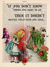 Alice in Wonderland, Path,Wall decor Classic Illustration Print Ornamental Artwork Ebook Web page Upcycled Web page Print,Retro Poster 140